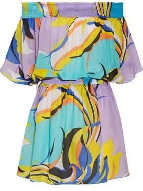 Emilio Pucci Fiore Maya Off-The-Shoulder Printed Cotton And Silk-Blend Voile Mini Dress
