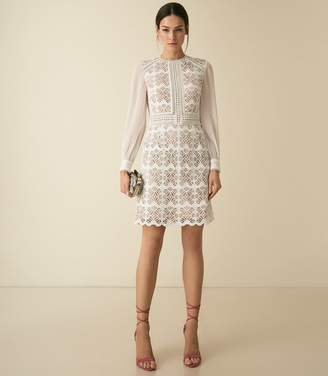 Reiss ARIA GEOMETRIC LACE DRESS WITH SHEER SLEEVES White