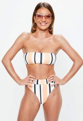 Missguided Peach Stripe Bandeau Bikini Top Mix & Match