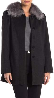 Sofia Cashmere Genuine Fox Fur Car Coat