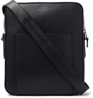 Smythson Panama Cross-Grain Leather Messenger Bag - Men - Black