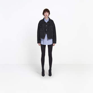 Balenciaga Denim edgy jacket with two wearing options