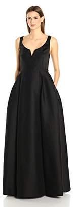 Halston Women's Sleeveless Scoop Notch Neck Silk Faille Gown