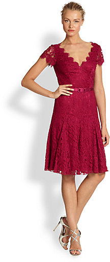 Theia Flared Lace Dress