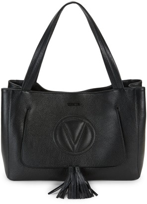 Call Of The Wild Valentino By Mario Valentino Ollie Grained Leather Tassel Tote