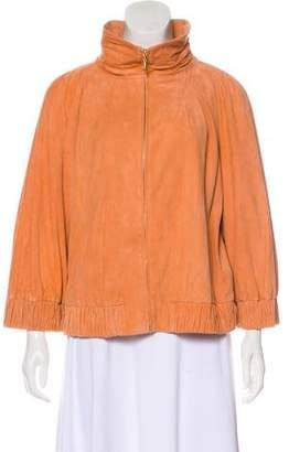 St. John Suede Zip-Up Jacket