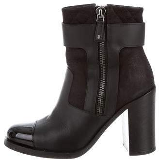 Chanel Leather Cap-Toe Ankle Boots