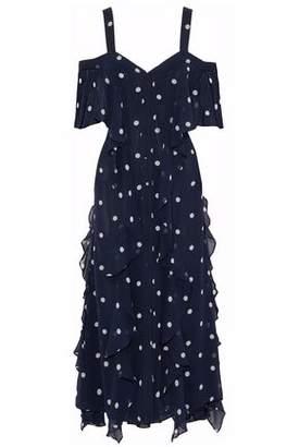 Nicholas Cold-shoulder Ruffled Printed Silk-georgette Midi Dress