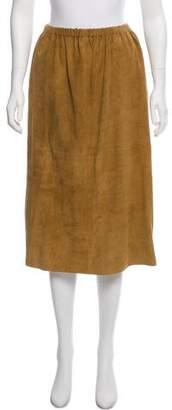 Base Range Leather Pencil Knee-Length Skirt