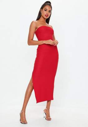 Missguided Red Bandage Bandeau Maxi Dress