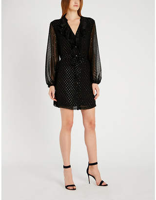 Paige Isabelle metallic dot-embroidered chiffon dress