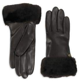 UGG Leather and Dyed Shearling Gloves