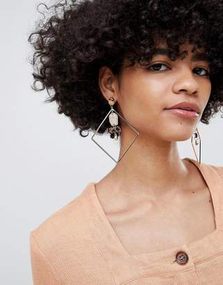Asos Design DESIGN statement earrings with resin and diamond hoop design in gold
