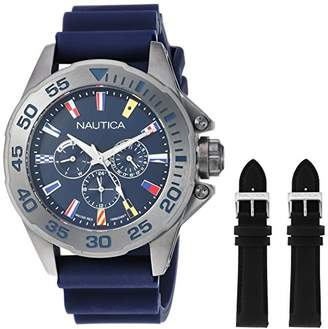 Nautica Men's 'Miami' Quartz Stainless Steel and Silicone Casual Watch