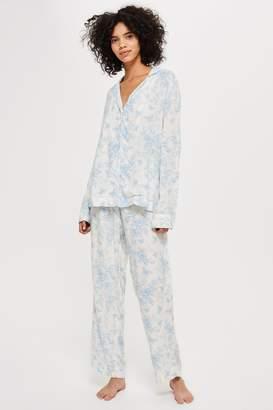 Topshop Printed Shirt and Trousers Pyjama Set