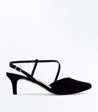 24524a31235 New Look Wide Fit Black Comfort Flex Asymmetric Strap Heels