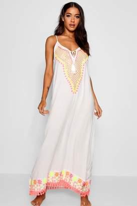 boohoo Embroidered Beach Maxi Dress