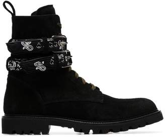 Amiri black bandana strap leather combat boots