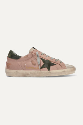Golden Goose Superstar Distressed Leather And Suede Sneakers - Blush