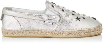 Jimmy Choo VLAD Champagne Glitter Leather Espradrilles with Multi Metal Stars
