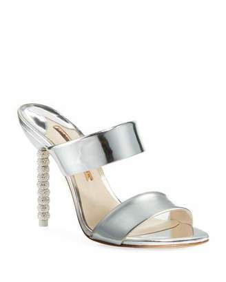 Sophia Webster Rosalind Metallic Leather Crystal-Heel Slide Sandals