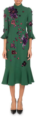 Andrew Gn Mock-Neck 3/4-Sleeve Crepe Dress with Scattered Floral-Embroidery