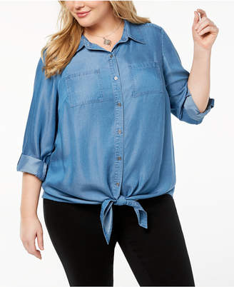 Style&Co. Style & Co Plus Size Relaxed Denim Shirt, Created for Macy's