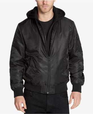 GUESS Men Bomber Jacket with Removable Hooded Inset