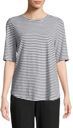 Eileen Fisher Half-Sleeve Organic Cotton Striped Tee, Plus Size