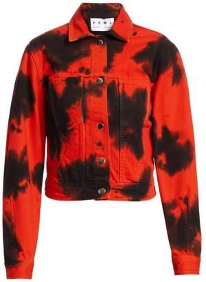 Proenza Schouler Pswl Blotted Cropped Denim Jacket
