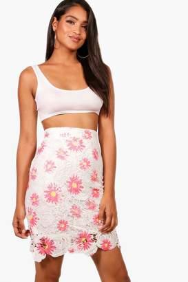 boohoo Printed Lace Skirt