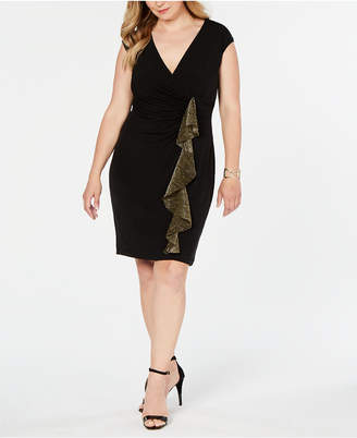 Connected Plus Size Metallic-Ruffle Wrap Dress