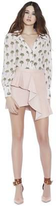 Alice + Olivia Venus Leather Ruffle Mini Skirt