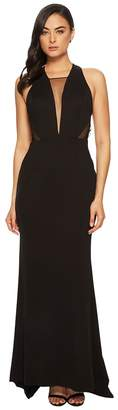 Adrianna Papell Long Jersey Gown with Illusion Mesh Inset Detail Women's Dress