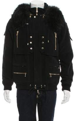 Balmain Fur-Trimmed Hooded Jacket w/ Tags