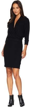 Three Dots Brushed Sweater Wrap Dress Women's Dress