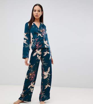 Asos Tall DESIGN Tall bird print double brested shirt and pants pyjama set