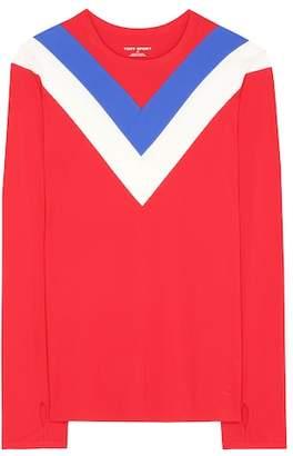Tory Sport Chevron long-sleeved top