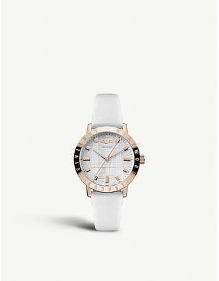 Vivienne Westwood VV152WHWH Bloomsbury rose gold-plated stainless steel and leather strap watch