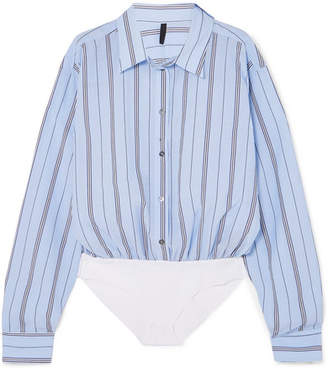 Unravel Project - Distressed Striped Cotton-blend Voile And Poplin Bodysuit - Light blue
