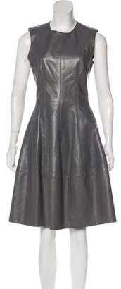 J. Mendel Leather A-Line Dress