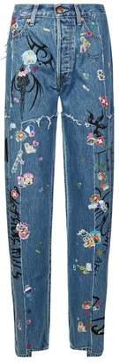 Vetements Tribal Sticker Straight Leg Jeans