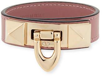 Valentino Small Leather Rockstud Flip-Lock Bracelet