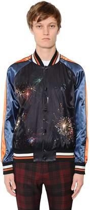Valentino Fireworks Print Satin Souvenir Jacket