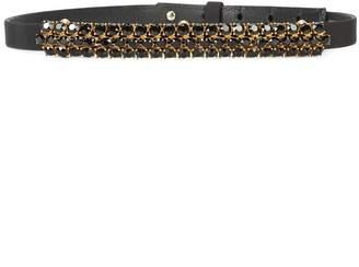Oscar de la Renta stud crystal buckle belt