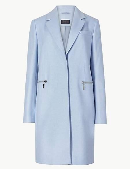 PETITE Wool Blend Single Breasted Coat