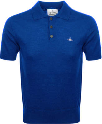 Vivienne Westwood Knitted Polo T Shirt Blue