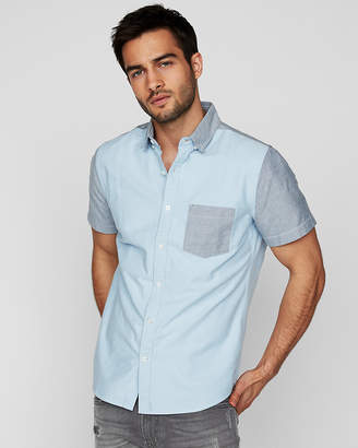 Express Slim Color Block Short Sleeve Oxford Shirt
