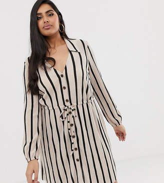 3a15667491a Asos DESIGN Curve mini textured shirt dress in stripe