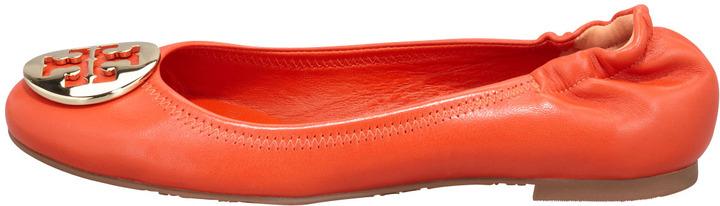 Tory Burch Reva Mestico Logo Ballerina Flat, Fire Orange